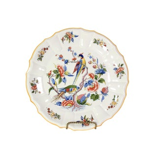 Late 1800s French Hand-Painted Porcelain Bird & Floral Botanic Plate For Sale
