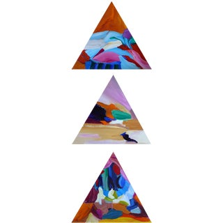 """Original 3 Piece """"The Three Triangles"""" Abstract Paintings For Sale"""