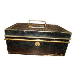 Antique Tin Banker's or Cash Box With Gold Accents