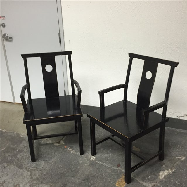 Black Solid Wood Lacquered Chairs - A Pair - Image 4 of 10