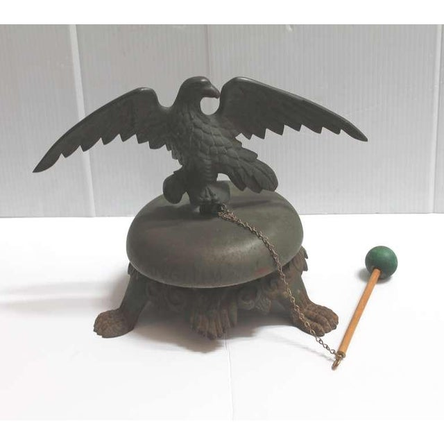 19th Century Large Bell on Iron Base with Bronze Eagle on Top For Sale - Image 4 of 8
