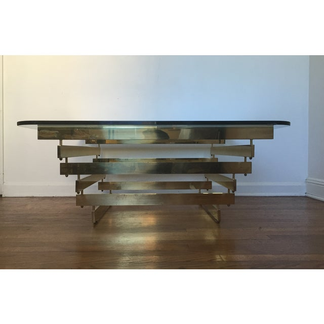 Paul Mayan Attributed Brass Stacked Coffee Table - Image 4 of 9