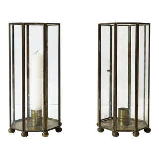 Octagonal Hurricane Lamps - a Pair For Sale
