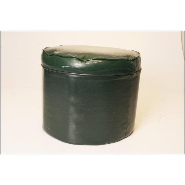 Mid Century Modern Dark Green Vinyl Ottoman - Image 8 of 11