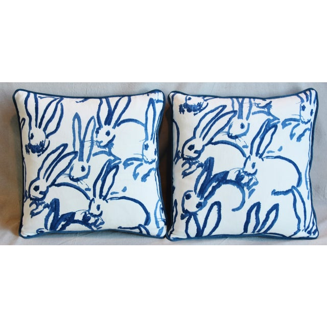 "Pair of custom-tailored pillows in designer Hunt Slonem's Lee Jofa Groundworks ""bunny hutch"" linen fabric depicting..."