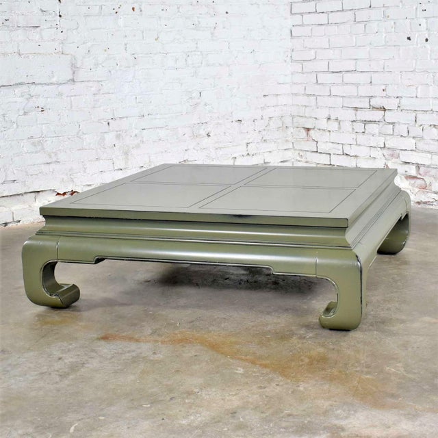 Monumental Square Asian Ming Style Lacquered Coffee Table in Sage Green For Sale - Image 13 of 13