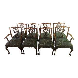Chippendale Georgian Style Dining Chairs - Set of 8 For Sale
