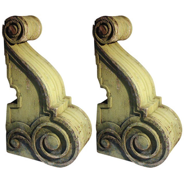 Pair of Large Wood Corbels, 19th Century For Sale
