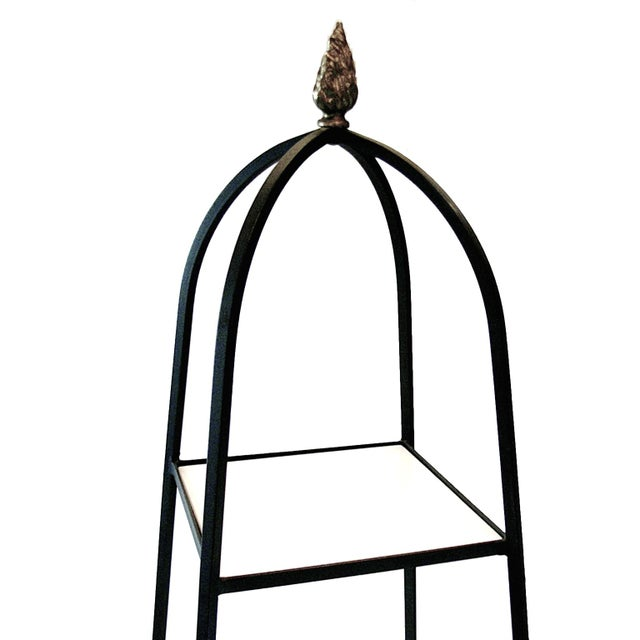 Tommi Parzinger Style Wrought Iron & Glass Etagere - Image 2 of 6