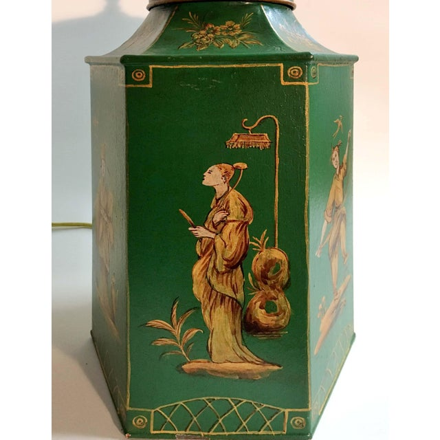 English Chinoiserie Hexagon Tea Canister Lamp For Sale In New York - Image 6 of 8