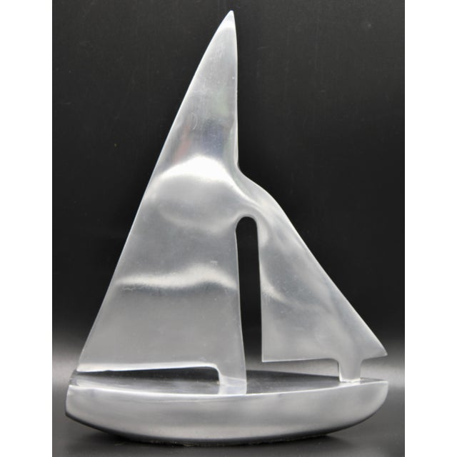 Silver Mid-Century Chrome Stylized Sailboat Model For Sale - Image 8 of 11