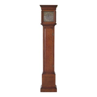 Modern Burl Walnut English Tall Cased Bookcase Clock For Sale