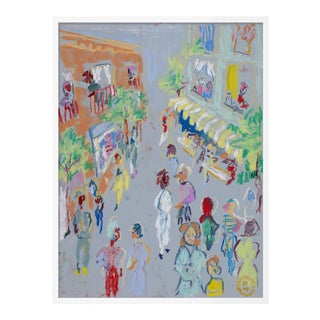 In the Street by Happy Menocal in White Frame, Medium Art Print For Sale