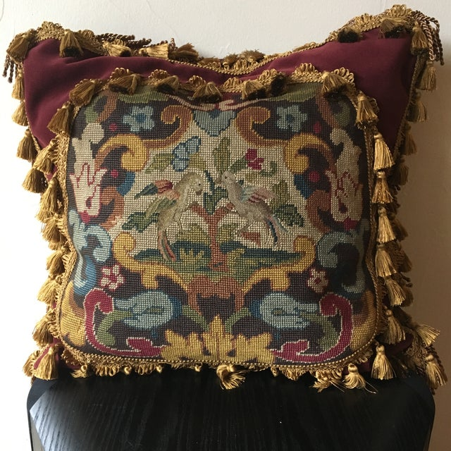 2010s Antique Velvet Burgundy & Gold Needlepoint Pillow For Sale - Image 5 of 10
