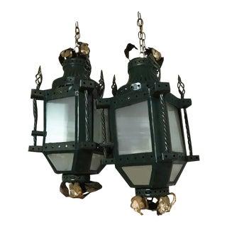 19th Century Parisian Gilt Iron Lantern Fixtures - A Pair