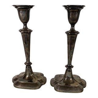 Antique Sheffield Silver on Copper Candlesticks - a Pair For Sale