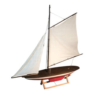 C. 1920 Pond Boat Gaff Rigged Hand Carved Sailboat For Sale