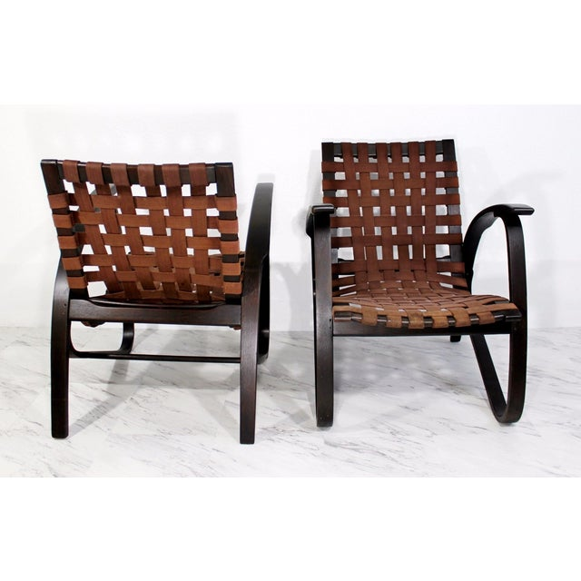 Mid-Century Modern Jan Vanek Bentwood Easy Arm Chairs with Woven Straps - a Pair For Sale - Image 4 of 8