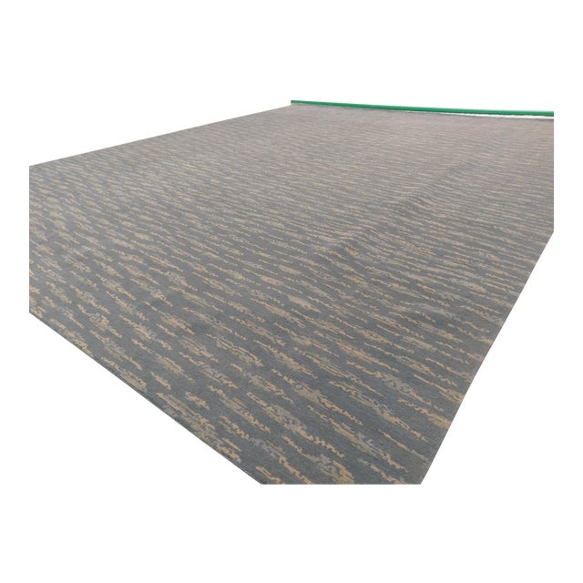 Hand Knotted Teal Contemporary Wool Rug - 9′10″ × 12′ - Image 1 of 5
