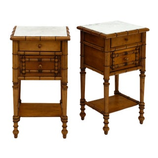 Antique French Napoleon III Bamboo Side Tables - a Pair For Sale
