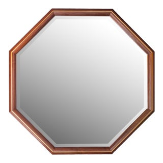 Walnut & Brass Inlay Octagon Mirror For Sale