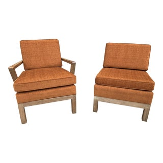 1960s Cerused Oak Burnt Orange Lounge Chairs - A Pair