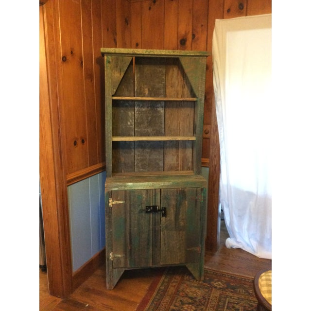 Primitive Wood Green Hutch For Sale - Image 13 of 13
