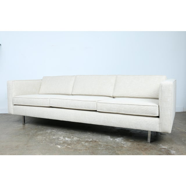 White Mid-Century Sofa With Chrome Legs For Sale - Image 4 of 11