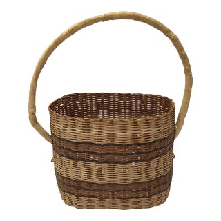 Primitive Striped Basket With Handle