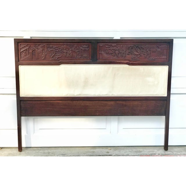 Antique Carved Asian Twin Headboard For Sale - Image 5 of 5