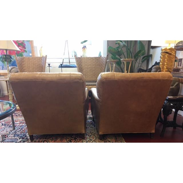 1960s Vintage Beige Tufted Back Leather Chairs- a Pair For Sale - Image 4 of 7