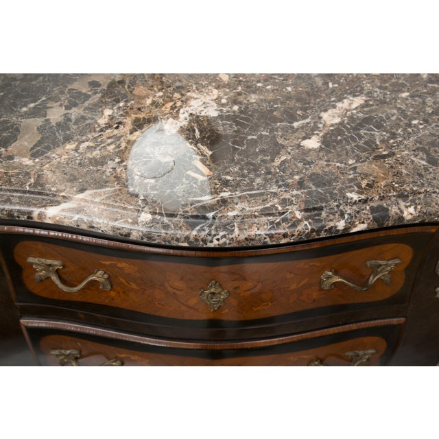 Louis XV Style Two-Drawer Commode With Varigated Marble Top For Sale - Image 4 of 13