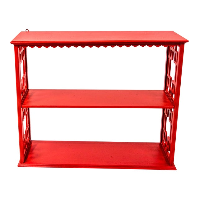Chinoiserie Mid-Century Red Etagere For Sale