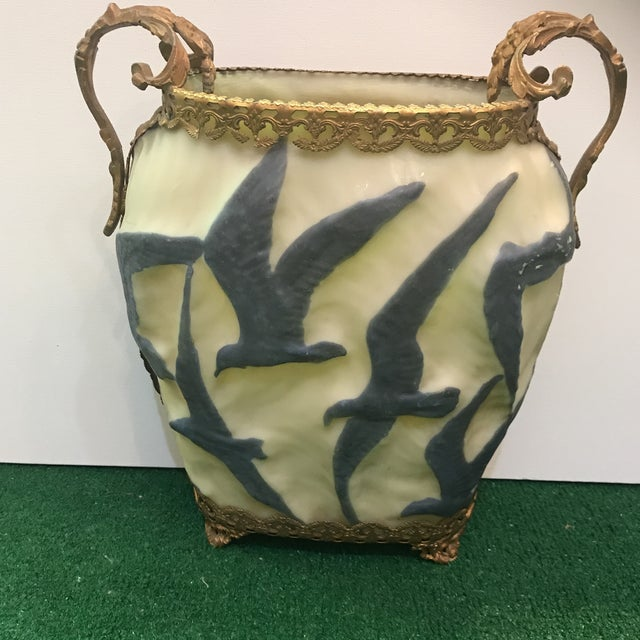 Mounted Dor Bronze Phoenix Glass Vase Chairish