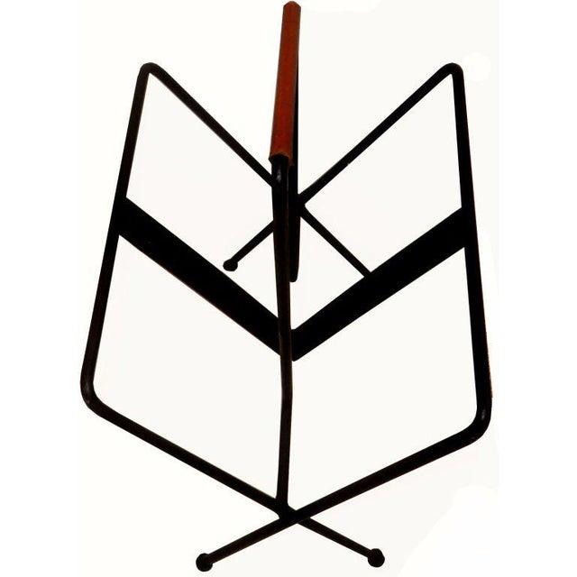 Mid-Century Modern Vintage Jacques Adnet Magazine Rack For Sale - Image 3 of 4