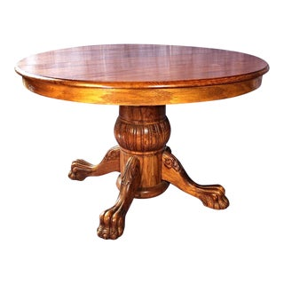 Victorian Oak Pedestal Extension Table