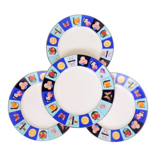 1990's Gucci Guccissimo China Salad Plate Set - Set of Four For Sale