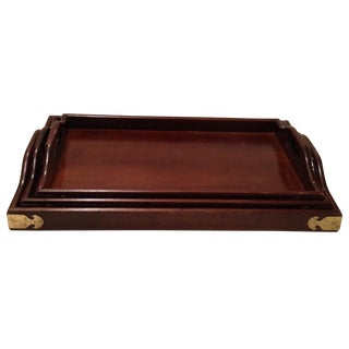 Mahogany & Brass Serving Trays - Set of 3 For Sale