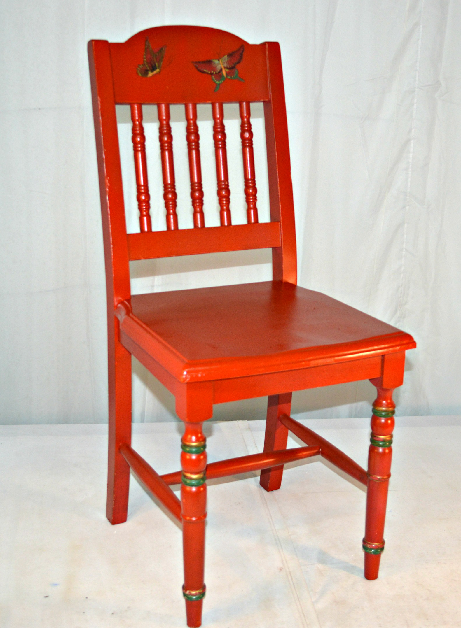 Charmant Mid 20th Century Red Chinoiserie Wooden Vanity Chair For Sale   Image 5 Of 9