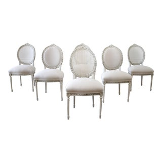 Early 20th Century Louis XVI Style Upholstered and Cane Back Dining Chairs For Sale