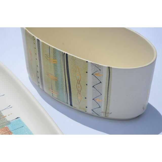 Mid-Century Modern 1950s Sascha Brastoff Ceramic Tray and Planter - a Pair For Sale - Image 3 of 13