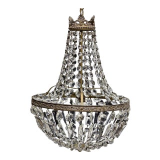 Early 20th Century Empire Italian Crystal Single Light Chandelier For Sale