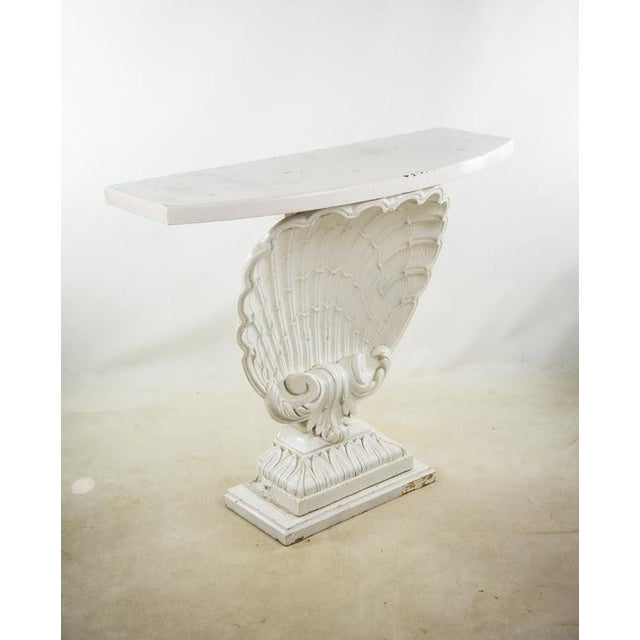 Nautical Seashell White Lacquered Entryway Table - Image 2 of 11