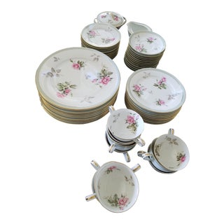 "Vintage Pink Rose Noritake ""Pricilla"" China Set For Sale"