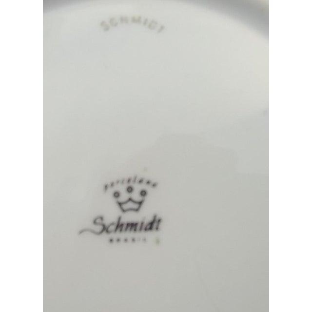 """1950s Porcelana Schmidt Brasil Mid Century Modern Floral 9 1/2"""" Bowl For Sale - Image 5 of 6"""