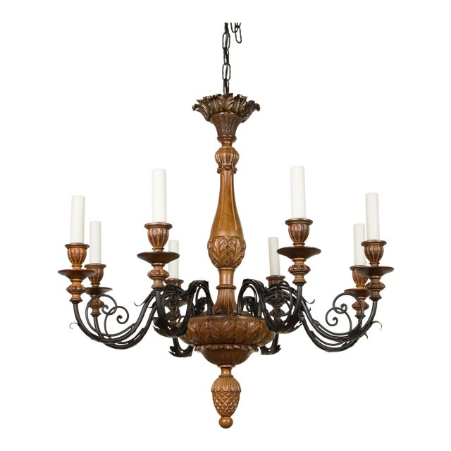 Iron & Wood Eight Arm Chandelier For Sale