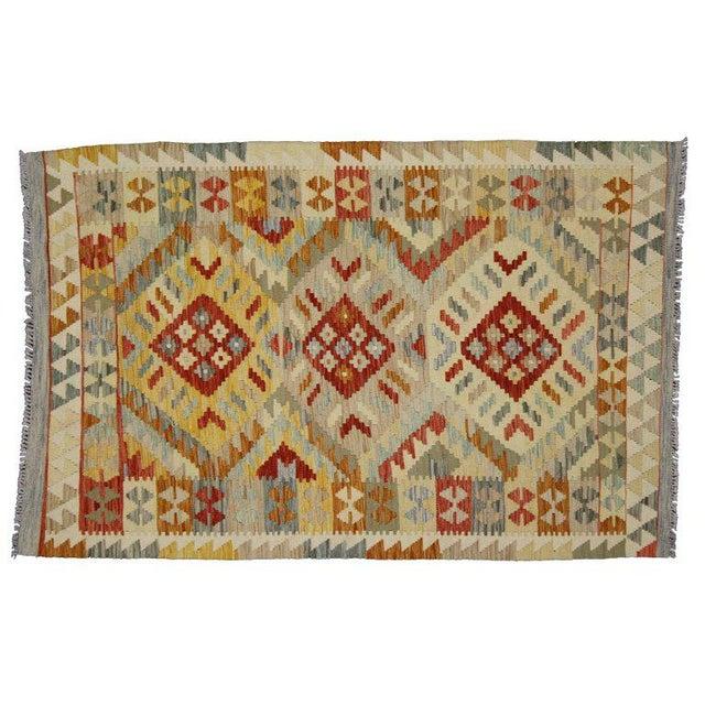 80127, a boho chic vintage Afghani Shirvan kilim rug with tribal style. This hand-woven wool vintage Shirvan kilim rug...