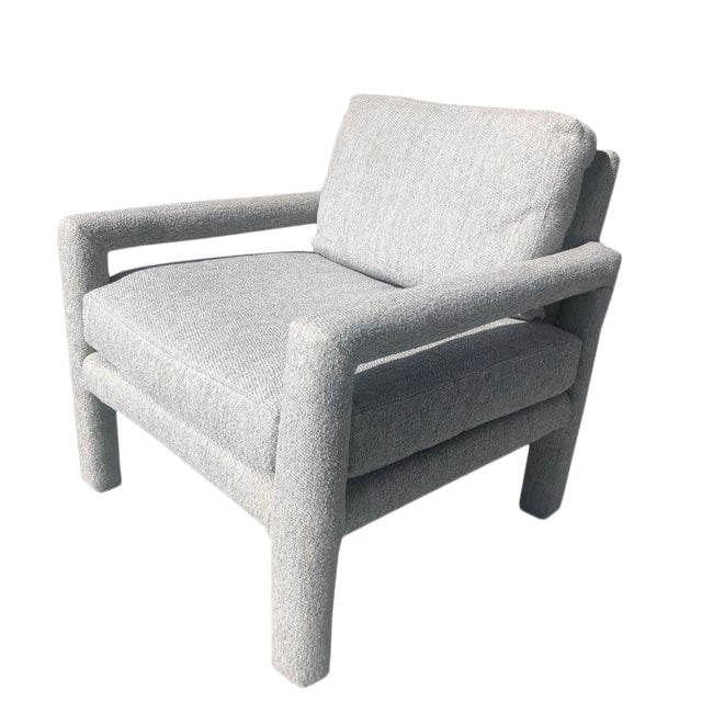 Milo Baughman Mid Century Vintage Gray Parsons Armchair With Cushions by Drexel For Sale