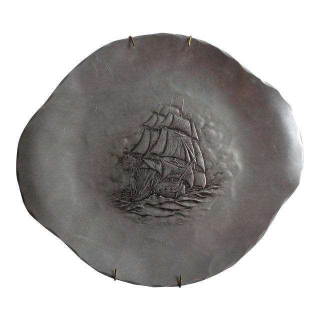 Vintage Wendell August Forge Hammered Nautical Ship Tray For Sale