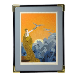 "1970s Vintage Erte ""Wings of Victory"" Art Deco Inspired Signed Artist's Proof Serigraph Print For Sale"